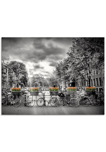 Artland Glasbild »Amsterdam Herengracht Sonnenstrahlen II«, Fahrräder, (1 St.) kaufen