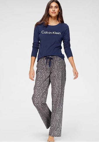 Calvin Klein Pyjama, mit Logoschriftzug und gemusterter Hose kaufen