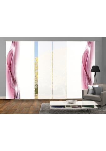 HOME WOHNIDEEN Schiebegardine »NEBLANA 6er SET«, Dekostoff-Seidenoptik, Digital bedruckt kaufen