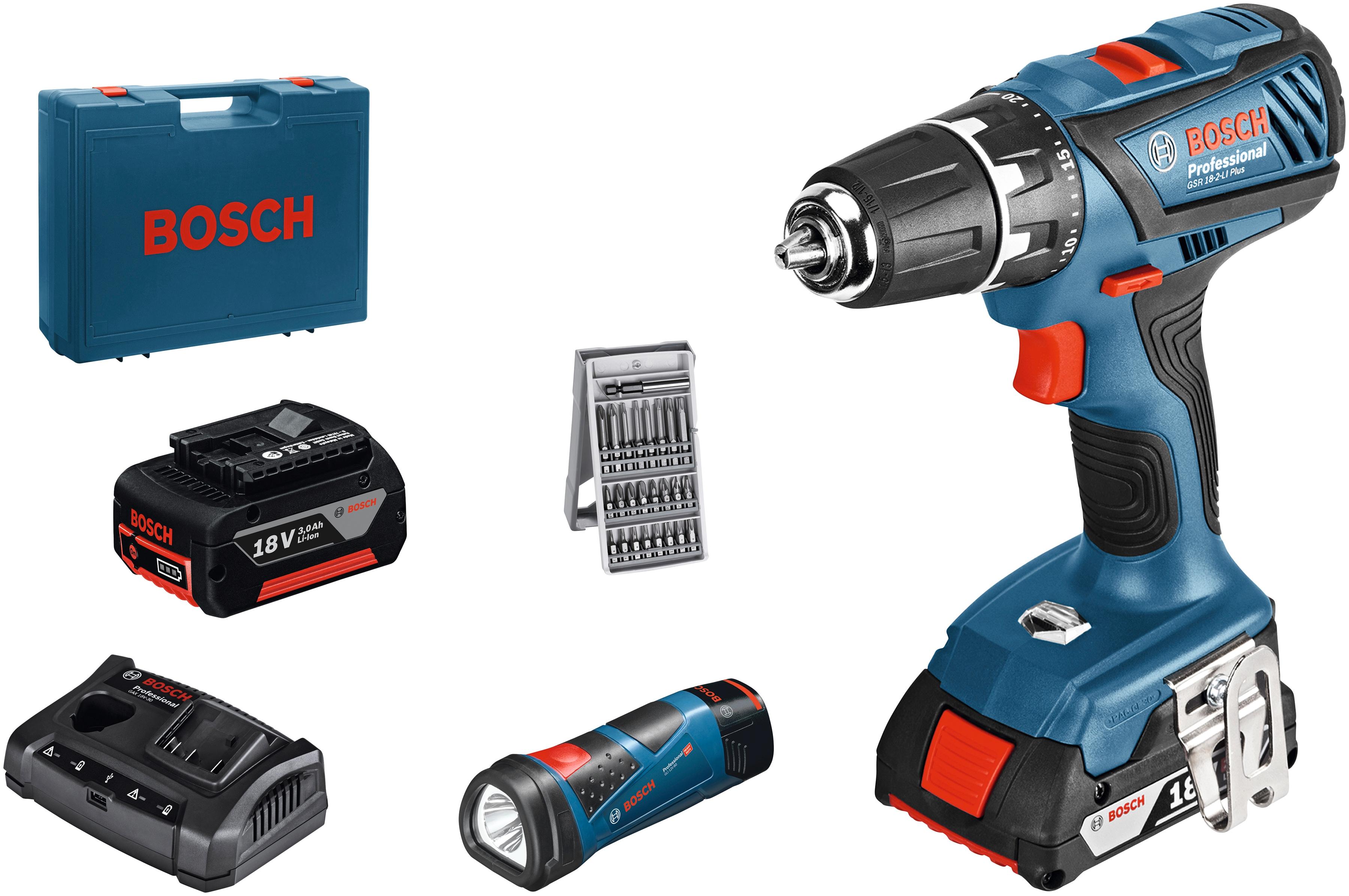 BOSCH PROFESSIONAL Elektrowerkzeug-Set »GSR 18-2-LI Plus + GLI 12V-80 + GAX Multi-Bay« | Baumarkt > Werkzeug > Werkzeug-Sets | Blau | BOSCH PROFESSIONAL