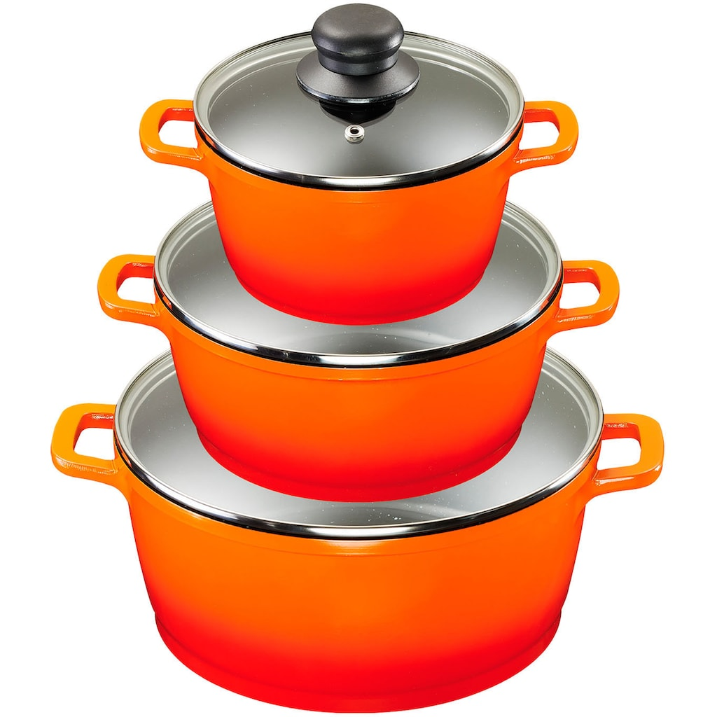 KING Topf-Set »Shine Orange«, Aluminiumguss, (Set, 10 tlg., 3 Töpfe, 3 Deckel, 7 Dosen), Induktion