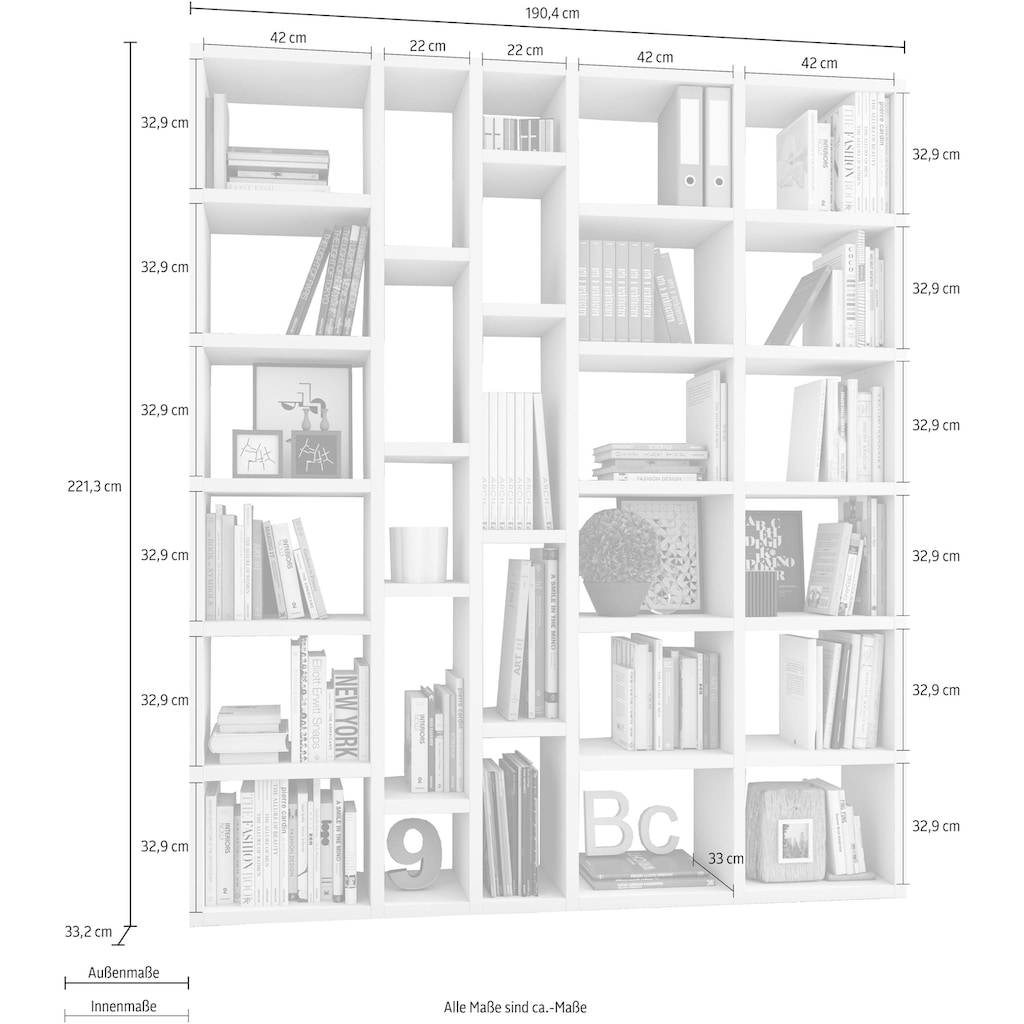 fif möbel Raumteilerregal »TOR390-6«, Breite 190 cm