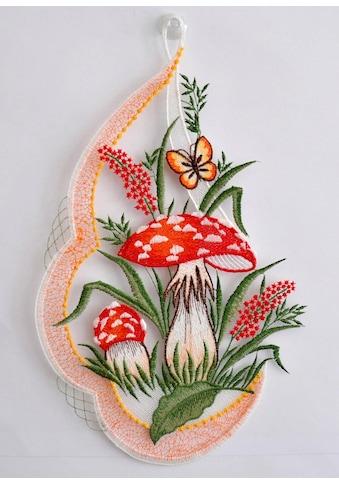 Stickereien Plauen Fensterbild »Pilze«, mit echter Plauener Spitze Stickerei kaufen