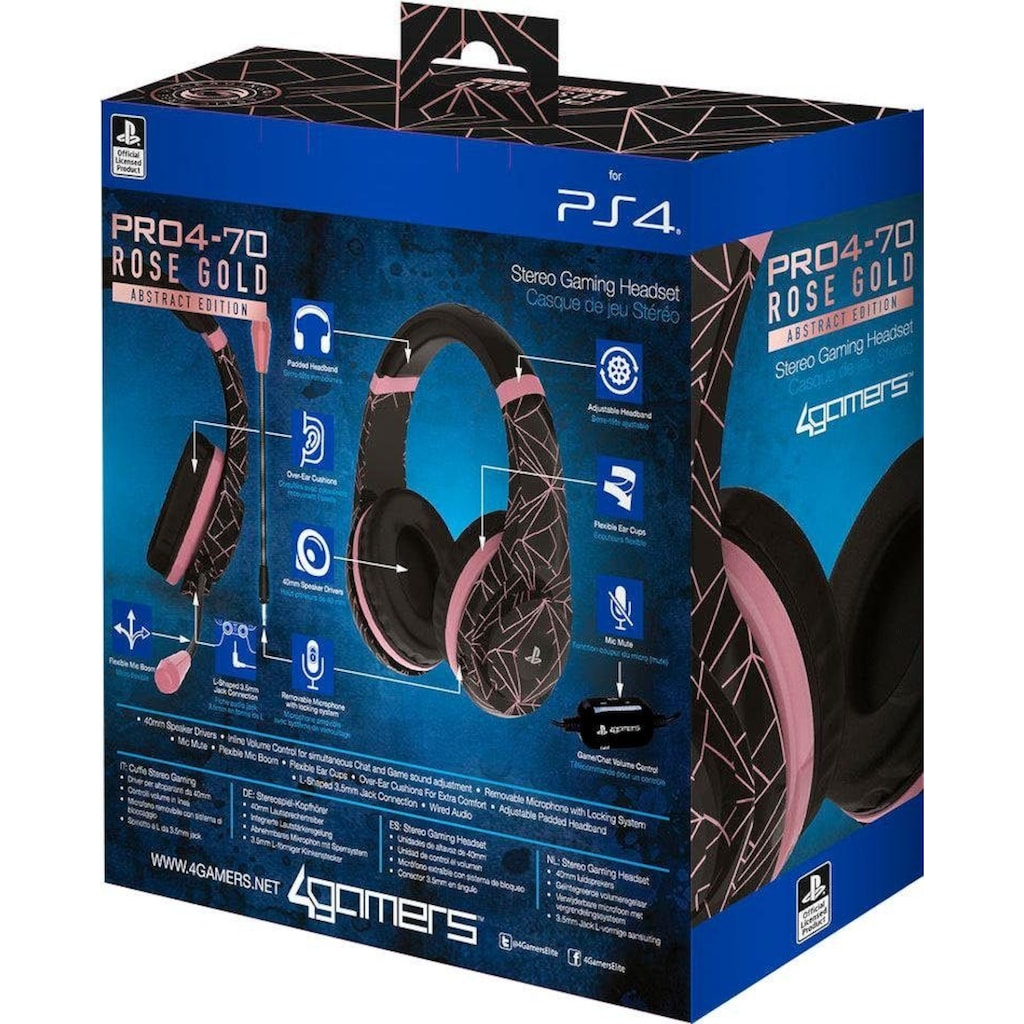 4Gamers Gaming-Headset »PRO4-70 Rose Gold Abstract Edition«, Mikrofon abnehmbar