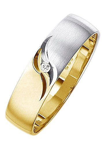 Firetti Trauring mit Gravur »5,0 mm, matt, glanz, mit Diamantschnitt, bicolor« | Schmuck > Ringe > Ringe mit Gravur | Firetti
