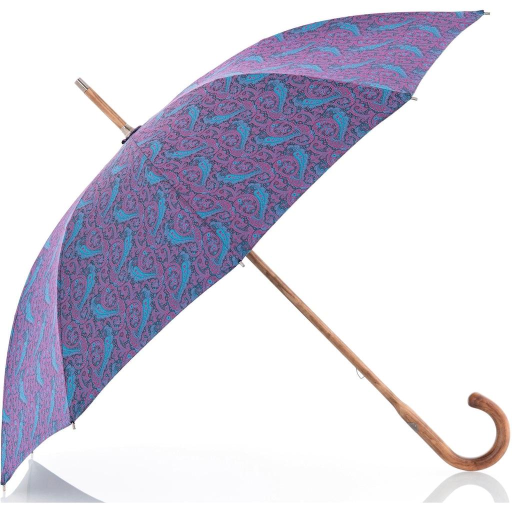doppler MANUFAKTUR Stockregenschirm »Norfolk Cottage, paisley pink«, handgemachter Manufaktur-Stockschirm