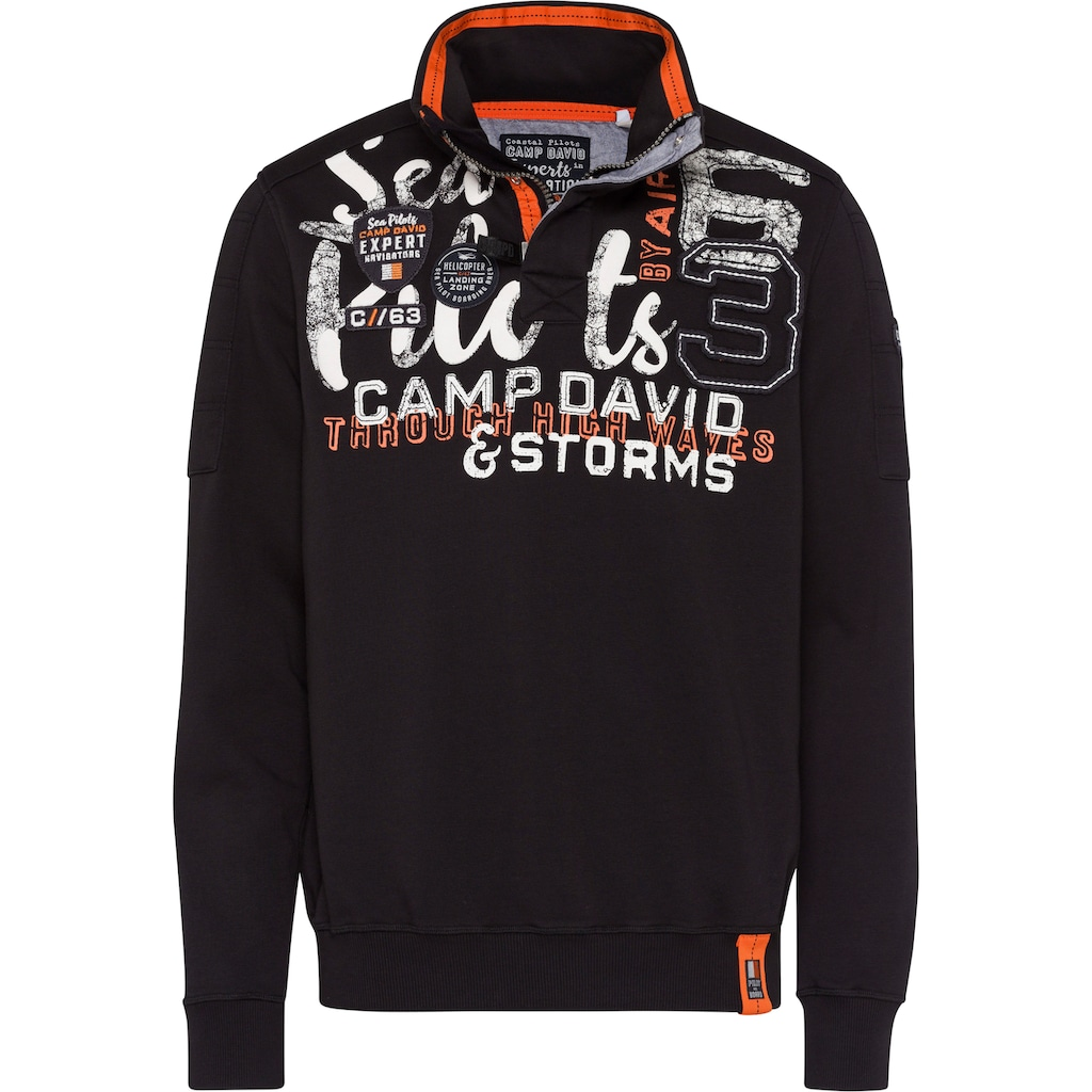 CAMP DAVID Sweatshirt, mit großem Logofrontprint