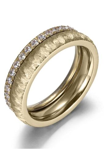Firetti Ring-Set »2,0 mm, 4,0 mm, glänzend, matt, gekratzt, strukturiert, IP-beschichtet«, (Set, 2 tlg.), mit Zirkonia kaufen
