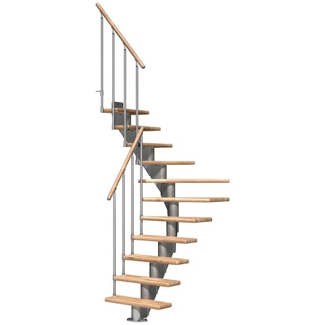 DOLLE Mittelholmtreppe »Frankfurt Eiche 75«, bis 258 cm, Metallgeländer, versch. Ausführungen