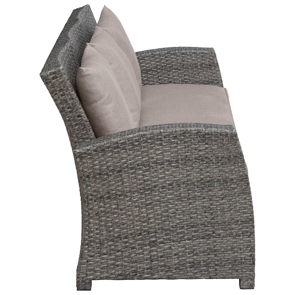KONIFERA Loungeset »Siros«, (12 tlg.), 3-er Sofa, 2 Sessel, Tisch 135x82 cm, Polyrattan