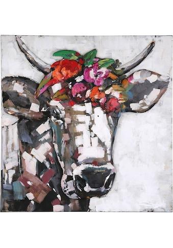 GILDE GALLERY Metallbild »Kunstobjekt Blumen Träume«, Kuh, (1 St.), handgearbeitetes 3D-Bild, 65x65 cm, aus Metall, Wohnzimmer kaufen