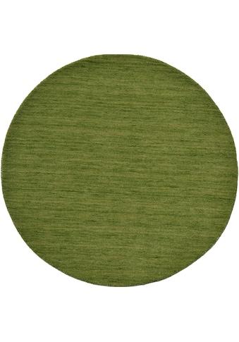 Theko Exklusiv Wollteppich »Gabbeh Uni«, rund, 15 mm Höhe, reine Wolle, elegante meliertes garn, Wohnzimmer kaufen