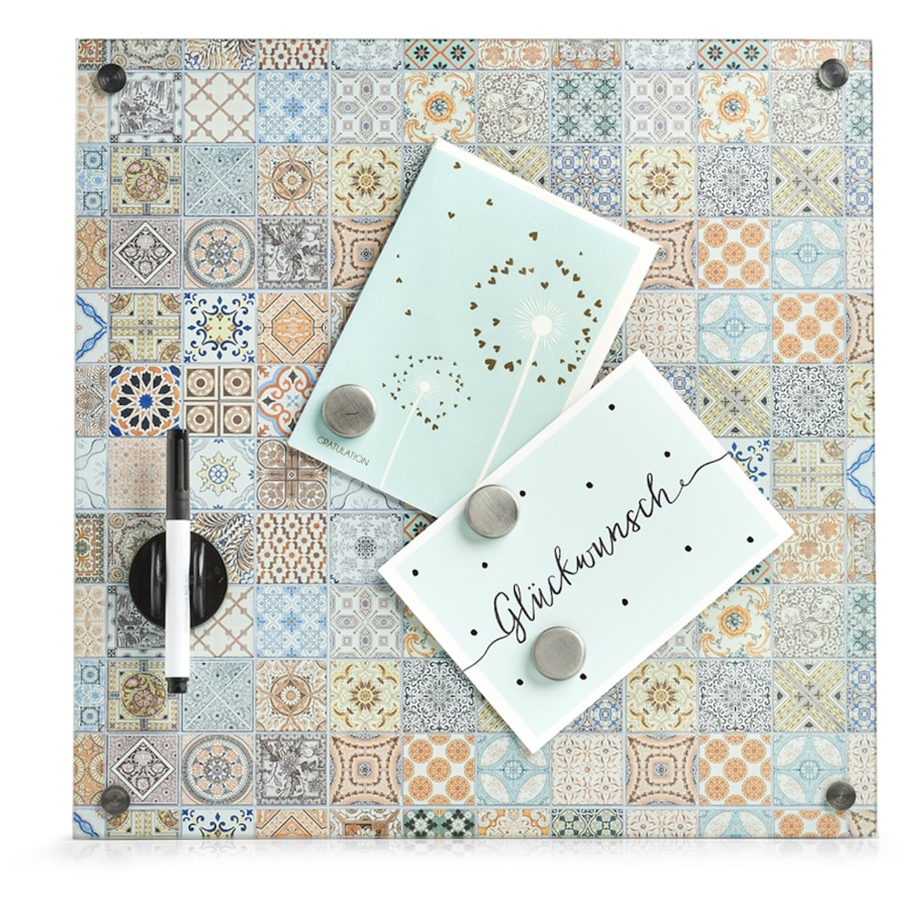 Zeller Present Memoboard, Glas, mit 3 Magneten, Stift, Wischer