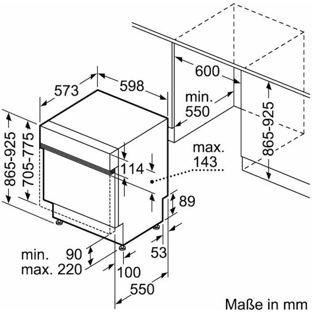 Constructa teilintegrierbarer Geschirrspüler »CG4B05J5«, CG4B05J5, 11,7 l, 12 Maßgedecke