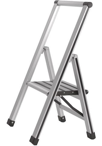 WENKO Trittleiter, Alu-Design, XXL-Stufen, flach klapp- und verstaubar kaufen