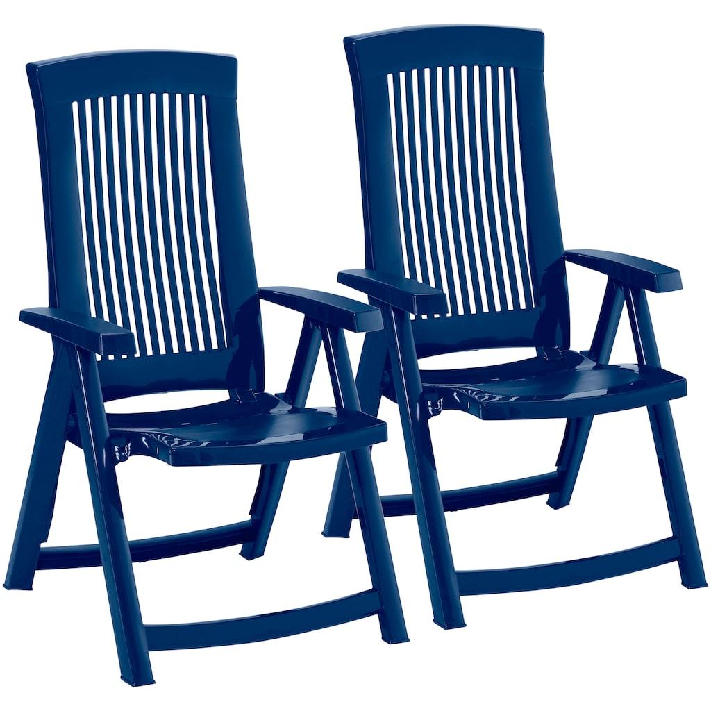 Best Gartenstuhl »Kansas«, 2er Set, Kunststoff, verstellbar, blau