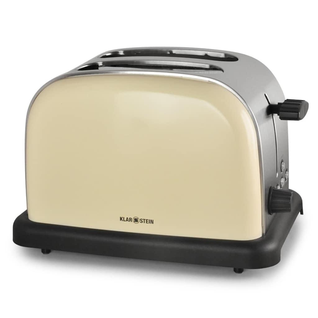 Klarstein Toaster 2 Scheiben 6 Stufen Retro Breitschlitz aufwärmfunktion