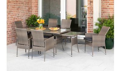 MERXX Gartenmöbelset »Sevilla«, (7 tlg.), 6 Sessel mit SItzkissen, ausziehbarer Tisch, steinbeige kaufen