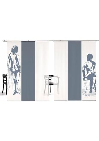 Schiebegardine, »Mann/Frau Farbig«, emotion textiles, Klettband 6 Stück kaufen