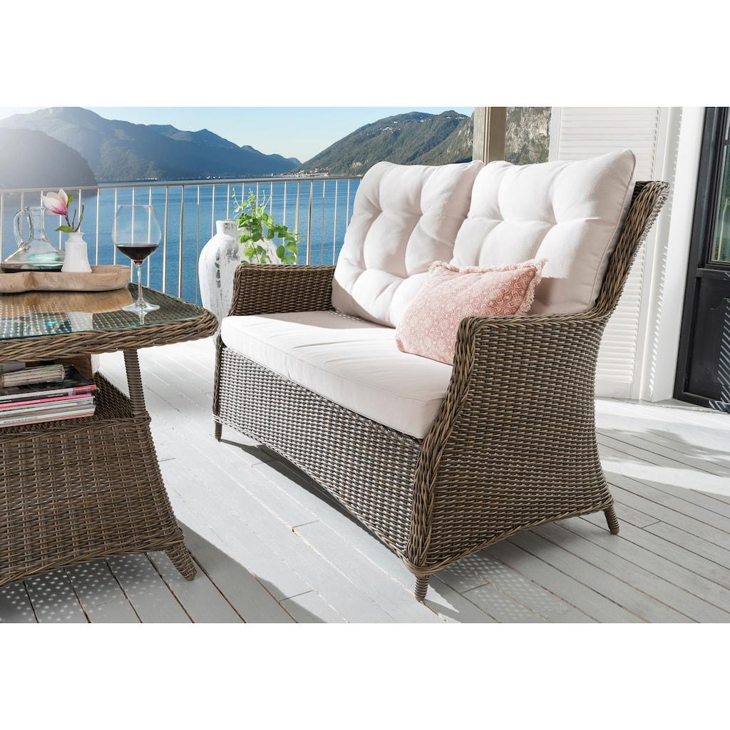 Destiny Loungeset »Casa«, (11 tlg.), 2 Sessel, Sofa, Tisch, Alu/Polyrattan, inkl. Auflagen
