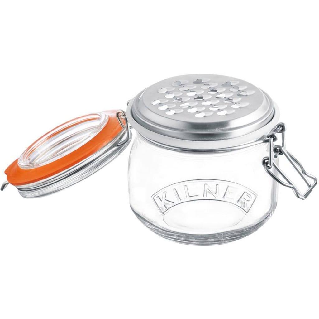KILNER Käsereibe, (1 Glas mit Deckel u. Bügelverschluss, Aufsatz-Reibe mit Gummiring), Inhalt 0,5 Liter