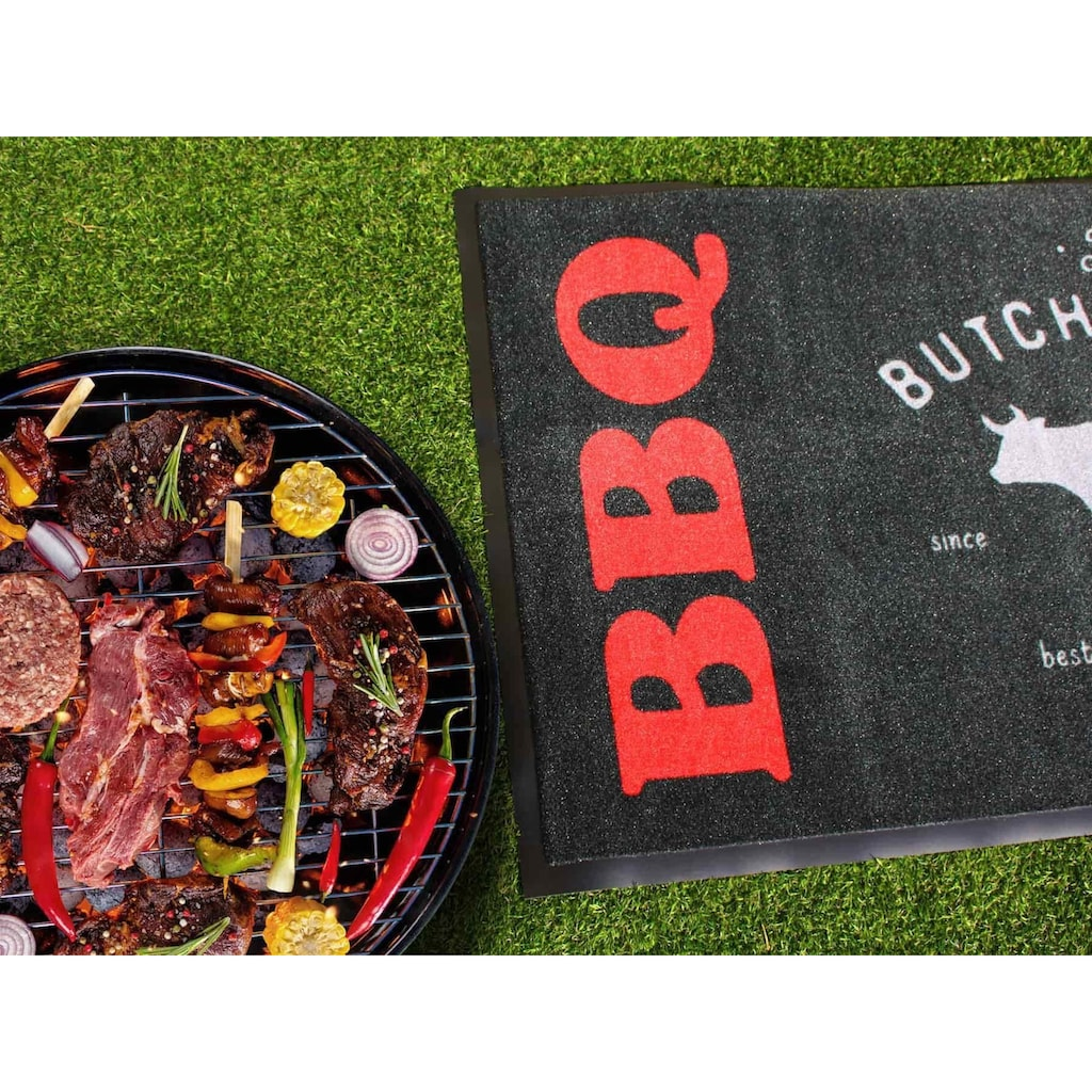 Primaflor-Ideen in Textil Fußmatte »BBQ Butcher«, rechteckig, 5 mm Höhe, Schmutzfangmatte, Grillmatte bzw. Grillunterlage ideal als Bodenschutz, In- und Outdoor geeignet, waschbar