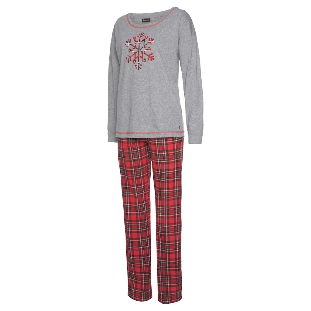 LASCANA Pyjama, mit weihnachtlichem Karo-Design