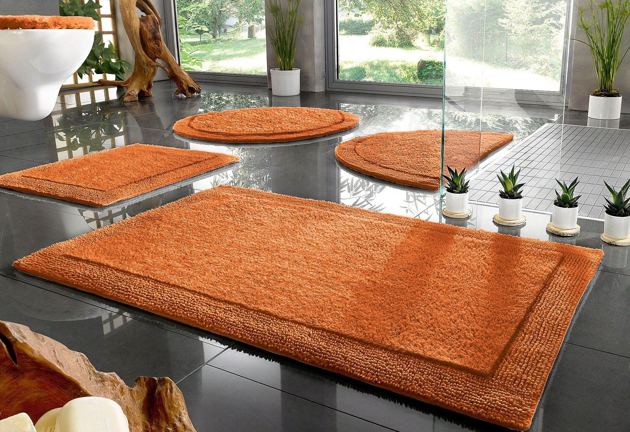 Badematte »Kapra«, Home affaire, Höhe 10 mm, beidseitig nutzbar | Bad > Badgarnituren > Badvorleger | Orange | Baumwolle | HOME AFFAIRE