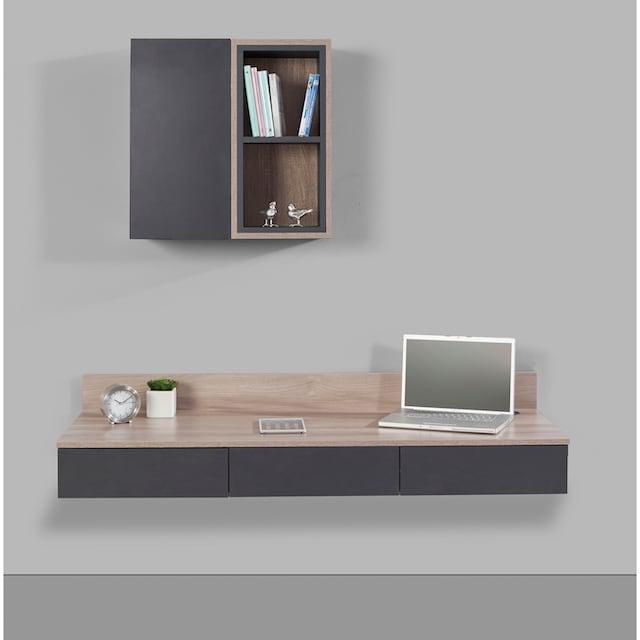 INOSIGN Wohnwand »Layland« (Set, 3-tlg bestehend aus 1 offenen Hängeregal, 1 geschlossenem Hängeregal und einem Schreibtisch)