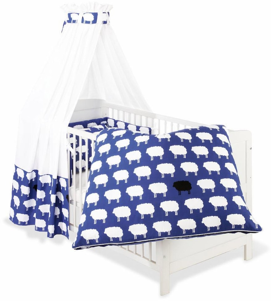 himmelbettgarnitur happy sheep blau pinolino passend f r kinderbetten auf rechnung. Black Bedroom Furniture Sets. Home Design Ideas