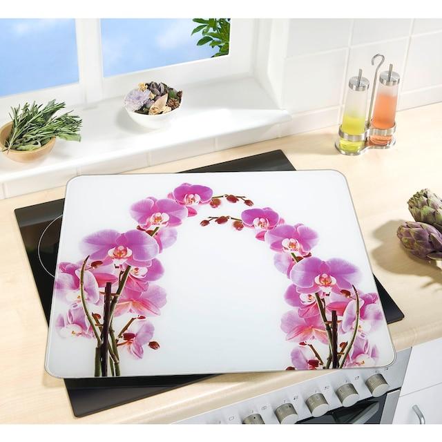 "WENKO Herd-Abdeckplatte ""Orchideenblüte"", Glas Silikon"