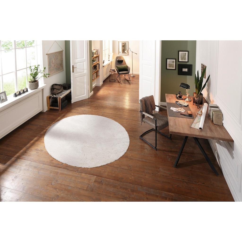 Hochflor-Teppich, »Desner«, my home, rund, Höhe 38 mm, maschinell getuftet