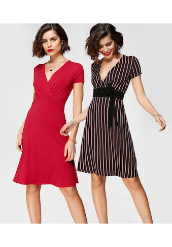 Tamaris Jerseykleid, (2er-Pack), in modischer Wickeloptik kaufen