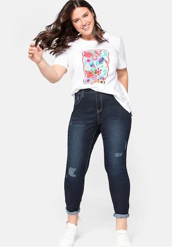 Sheego Stretch-Jeans, mit Destroyed-Effekten und offener Saumkante kaufen