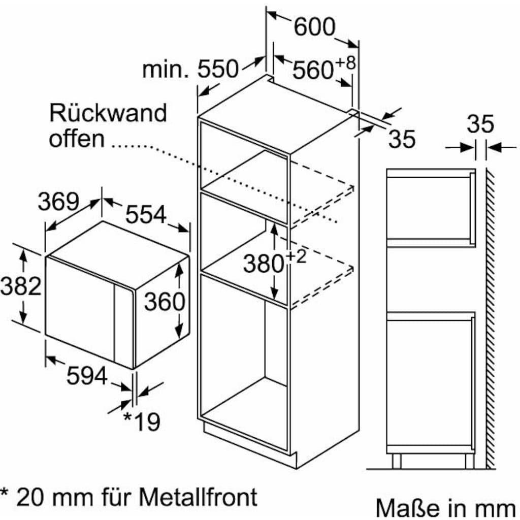 Constructa Einbau-Mikrowelle »CC4P91560«, Mikrowelle, 900 W, Hydro Clean