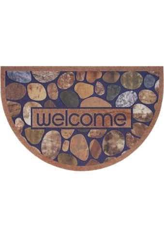 DELAVITA Fußmatte »Welcome braun«, halbrund, 6 mm Höhe, Schmutzmatte, mit Spruch, In-... kaufen