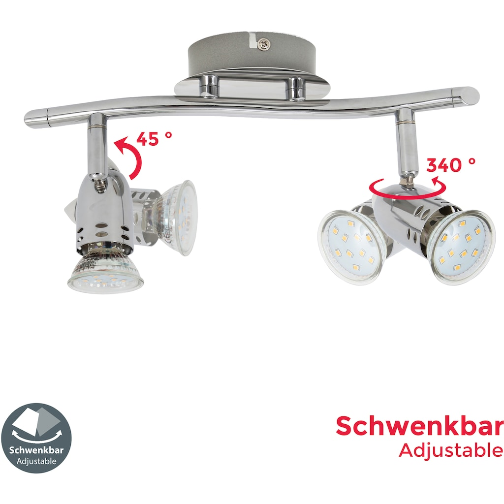 B.K.Licht LED Deckenspots »Carina«, GU10, Warmweiß, LED Deckenleuchte Design Deckenlampe 6W Spot Strahler GU10 chrom drehbar schwenkbar
