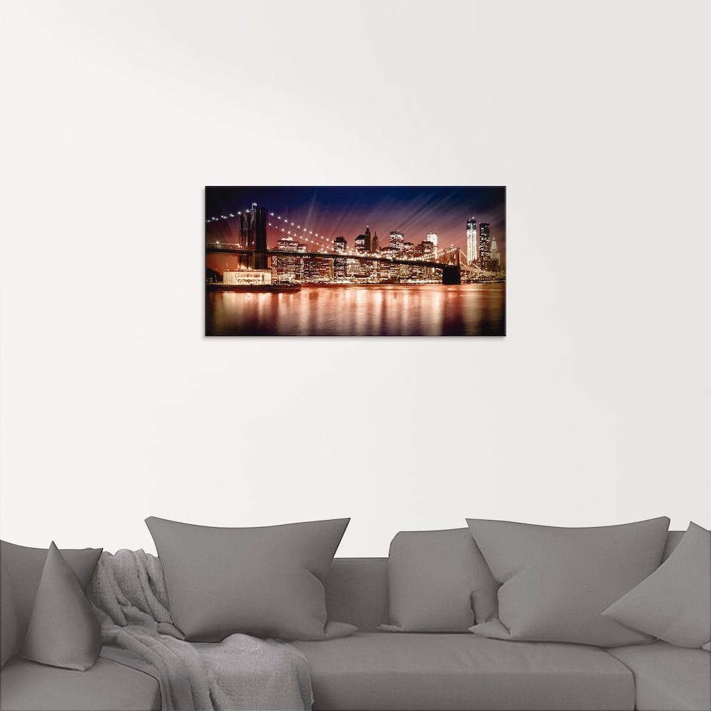Artland Glasbild »Manhattan Sonnenuntergang«, Brücken, (1 St.)