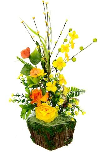 I.GE.A. Kunstblume »Arrangement Ranunkel«, Pflanzschale aus Rinde mit Moos kaufen