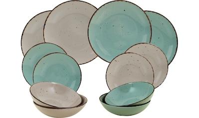ARTE VIVA Tafelservice »Puro«, (Set, 12 tlg.), Farbset in Türkis und Beige, vom Sternekoch Thomas Wohlfarter empfohlen kaufen