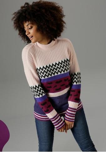 Aniston SELECTED Strickpullover, im trendy Muster und Farbmix - NEUE KOLLEKTION kaufen