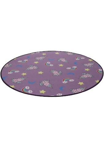 Living Line Kinderteppich »Einhorntraum«, rund, 7 mm Höhe, Velours, Motiv Einhorn + Regenbogen kaufen