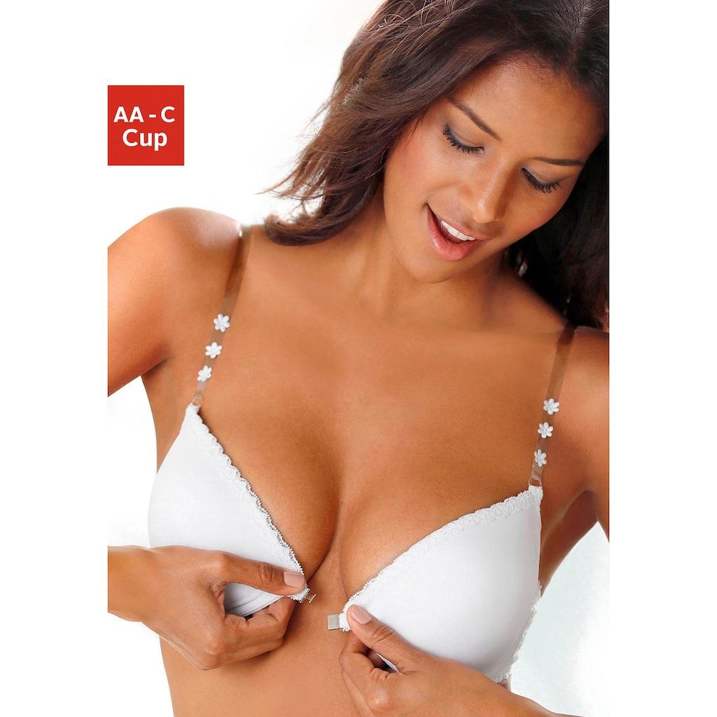 LASCANA Push-up-BH, mit Bügel, mit Vorderverschluss und transparenten Trägern