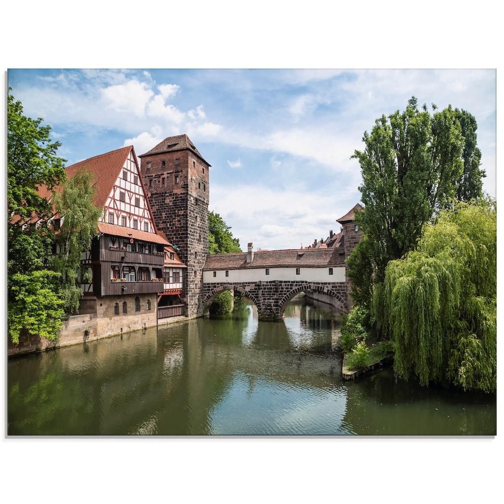 Artland Glasbild »Nürnberg Maxbrücke zum Henkersteg«, Europa, (1 St.)